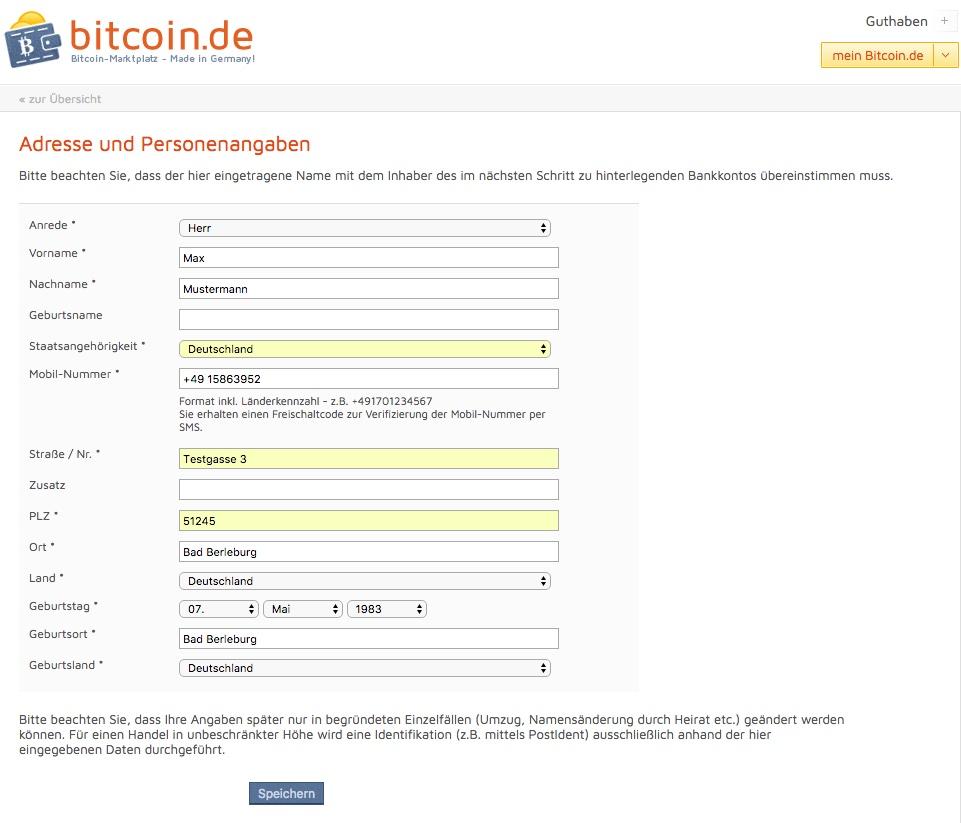 bitcoin.de idetifizierung