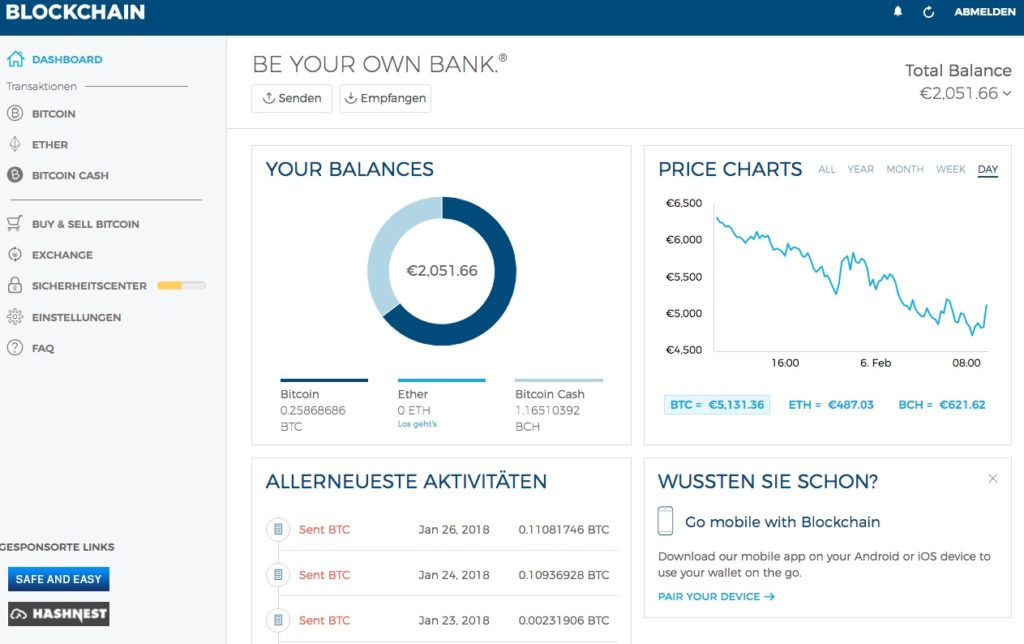 blockchain.info dashboard