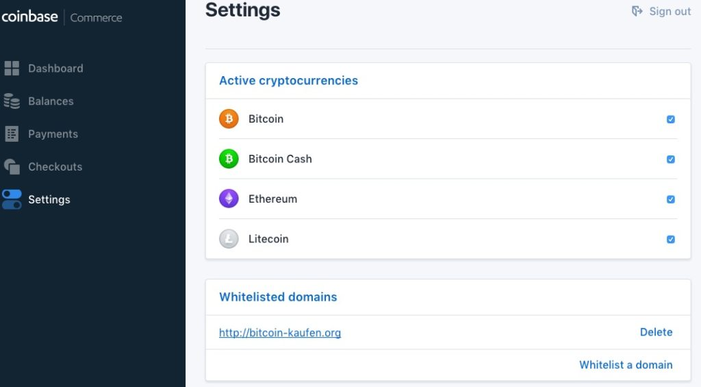 Coinbase Commerce Dashboard