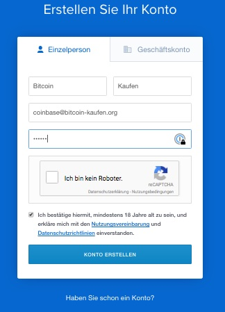 coinbase konto erstellen