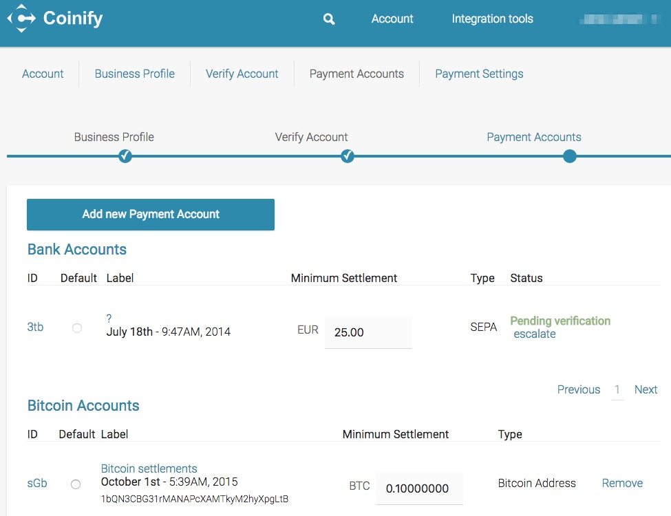 Coinify Payment Accounts