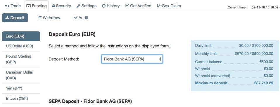 kraken fidor bank einzahlung
