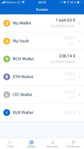 coinbase mobile kontenübersicht