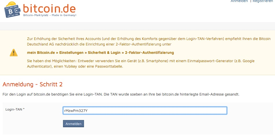 bitcoin.de login TAN