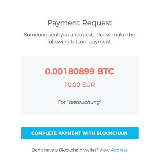 blockchain.info testbuchung