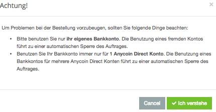 anycoin bankkonto hinweis