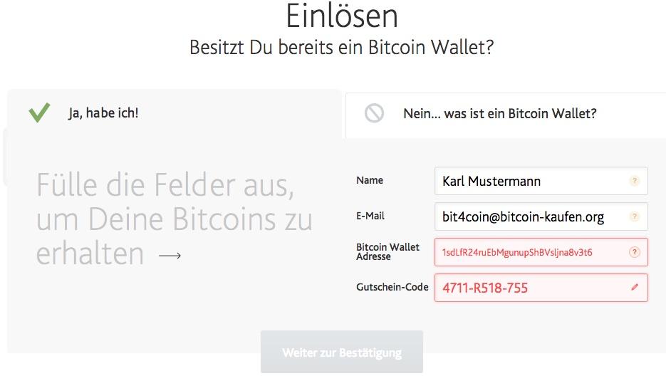 bit4coin bitcoin gutschein einlösen