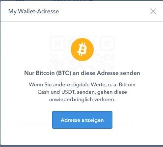 coinbase BTC Warnhinweis