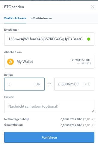 coinbase BTC senden