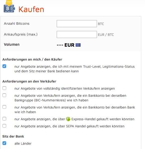 bitcoin.de - Anforderungen