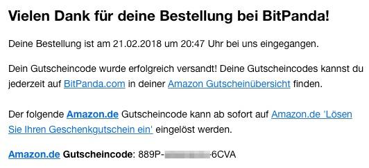 bitpanda amazon Gutschein