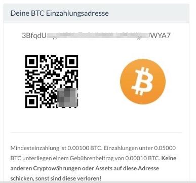 Bitpanda BTC-Einzahlungsadresse