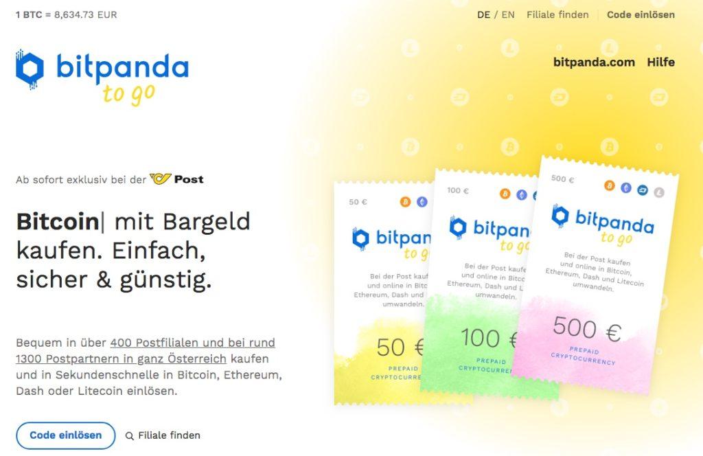 Homepage von Bitpanda to go