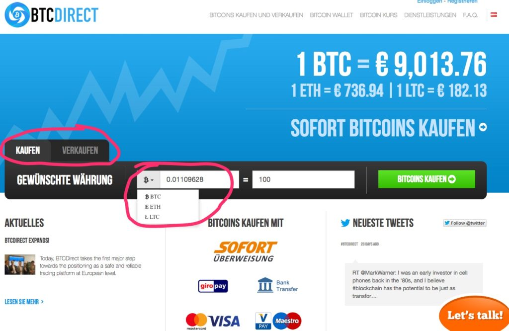 BTCdirect Homepage