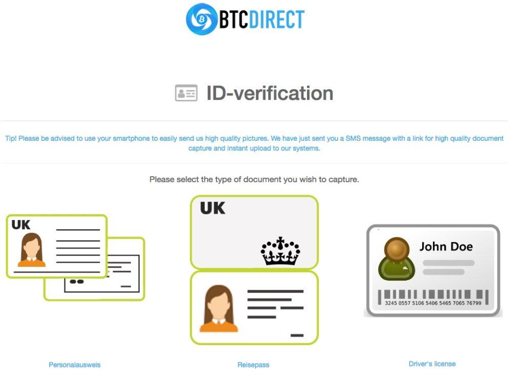 btcdirect ID verifizierung