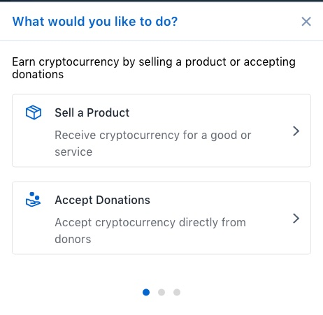 Coinbase Commerce produktauswahl