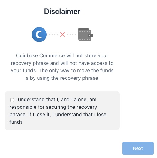 Coinbase Commerce disclaimer
