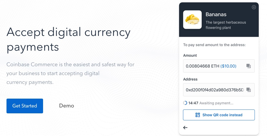 coinbase commerce homepage