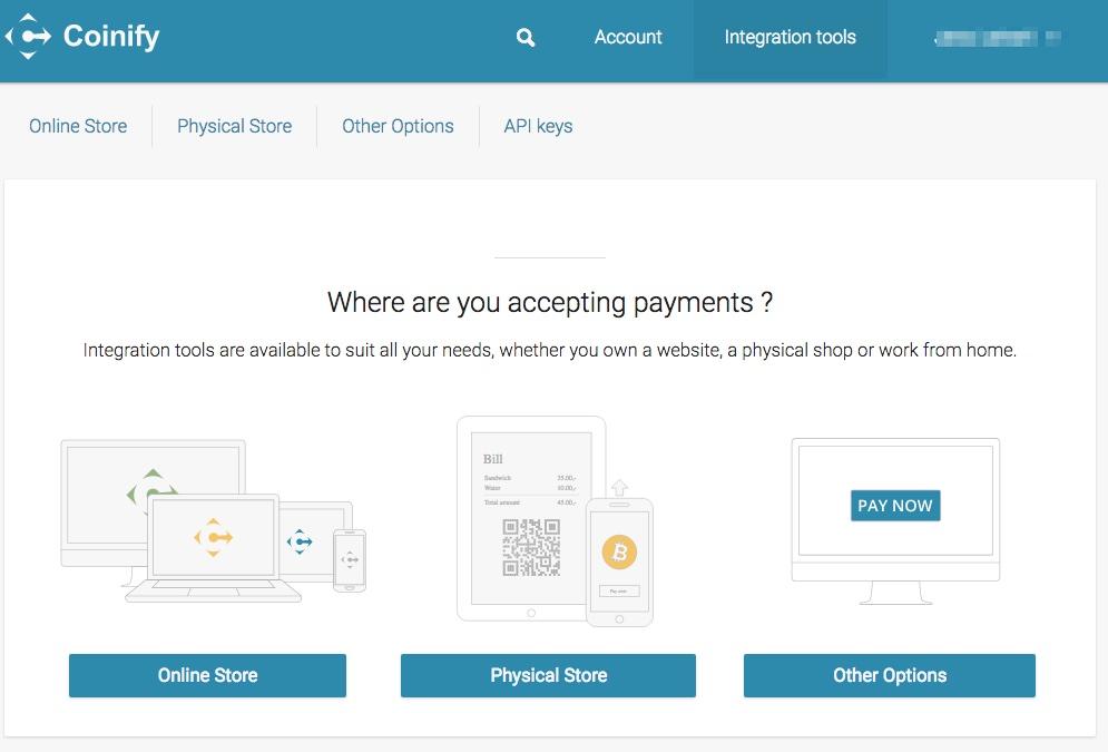 Coinify Merchant dashboard