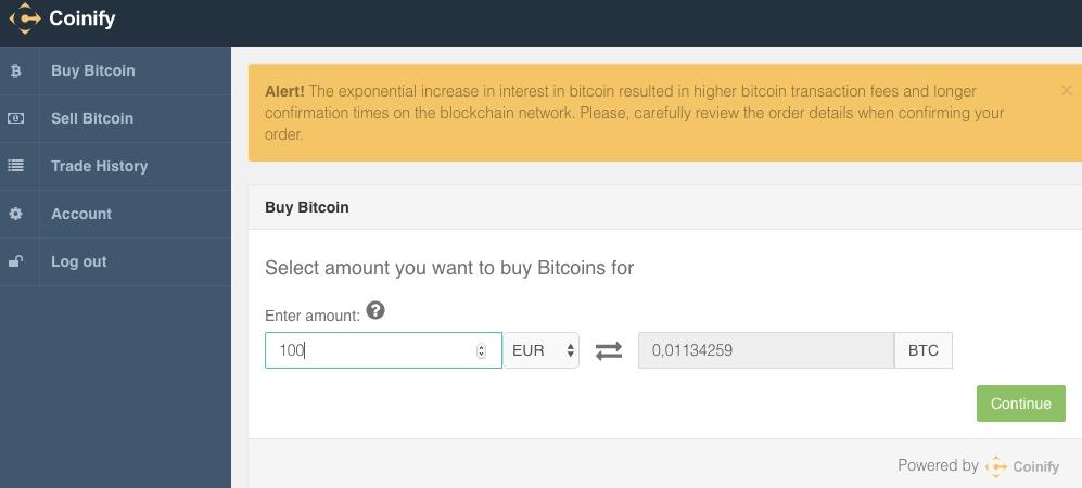 Coinify Bitcoin kaufen