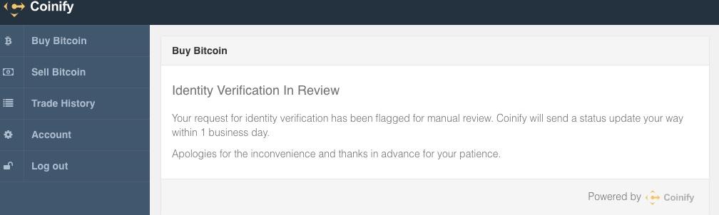 Coinify Statusmeldung