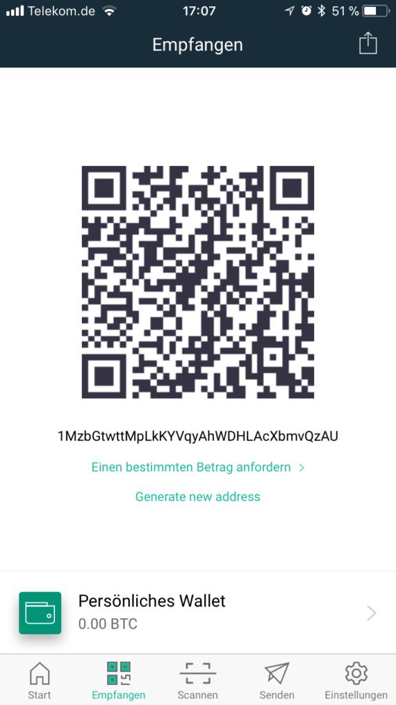 copay bitcoin empfangen