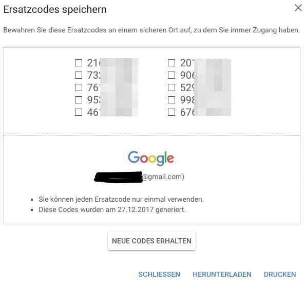 google authenticator backup code
