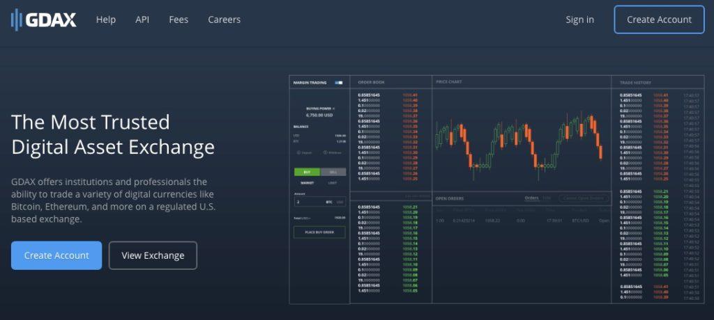 gdax homepage