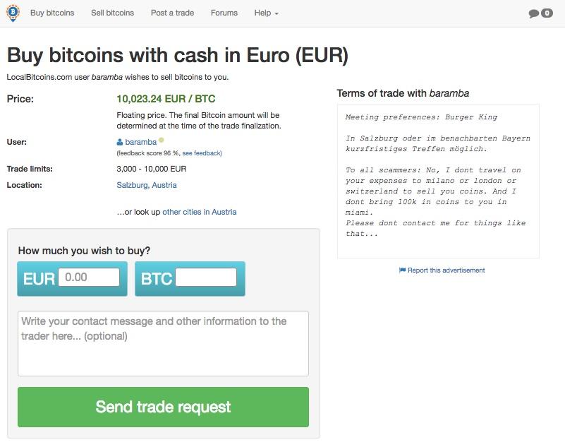 kaufe bitcoins mit bargeld