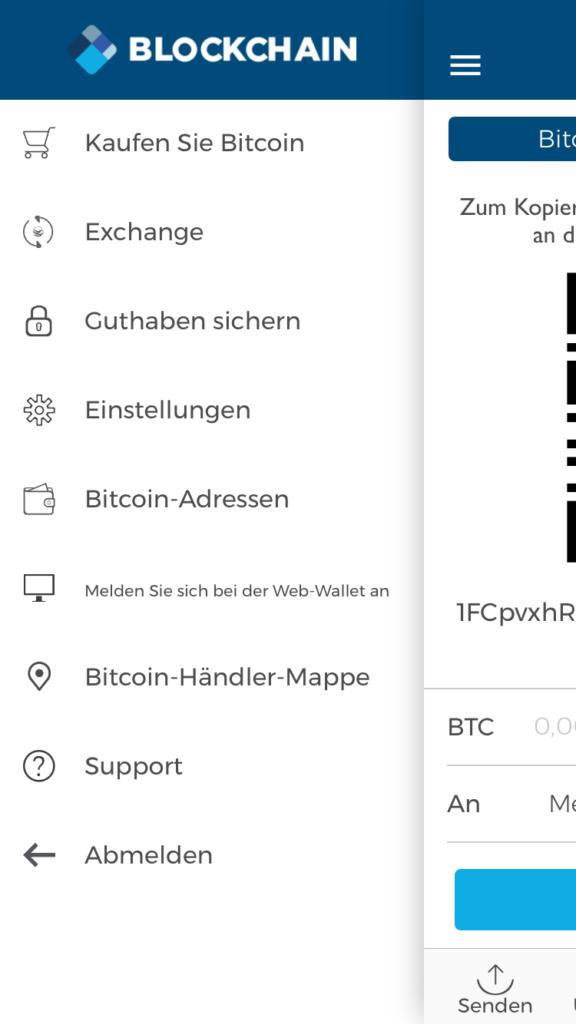 blockchain.info menue