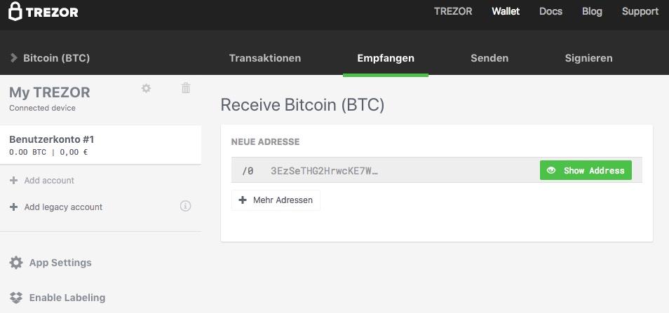 Trezor bitcoin empfangen