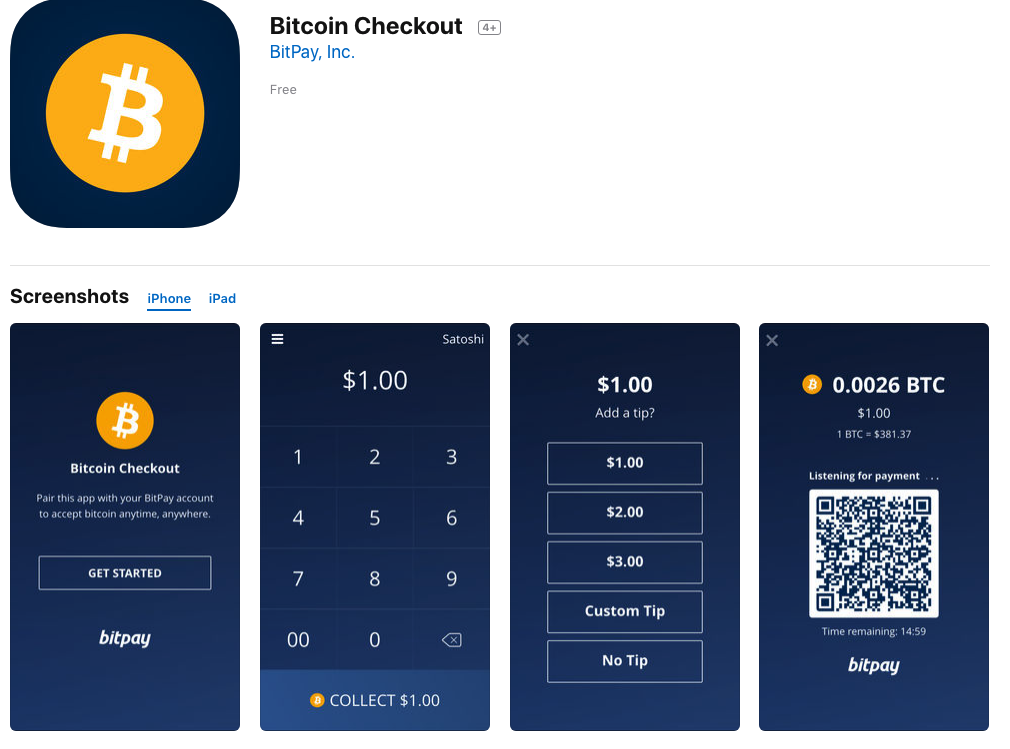 Bitpay check-out app