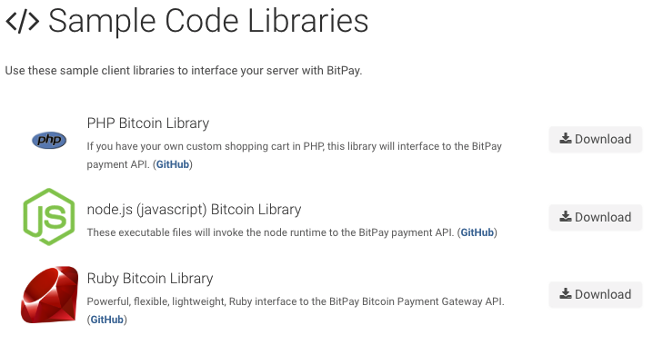 Bitpay code libraries