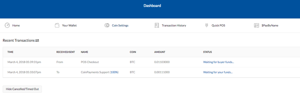 Coinpayments Dashboard