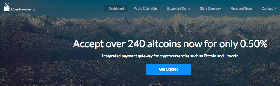 Coinpayments Homepage