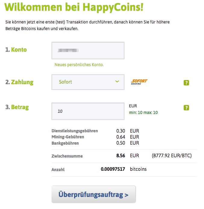 Happycoins Testbestellung