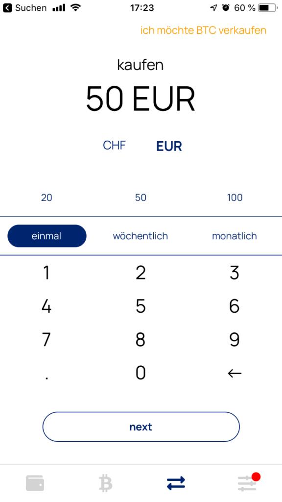 Relai Kaufbetrag in Euro oder CHF