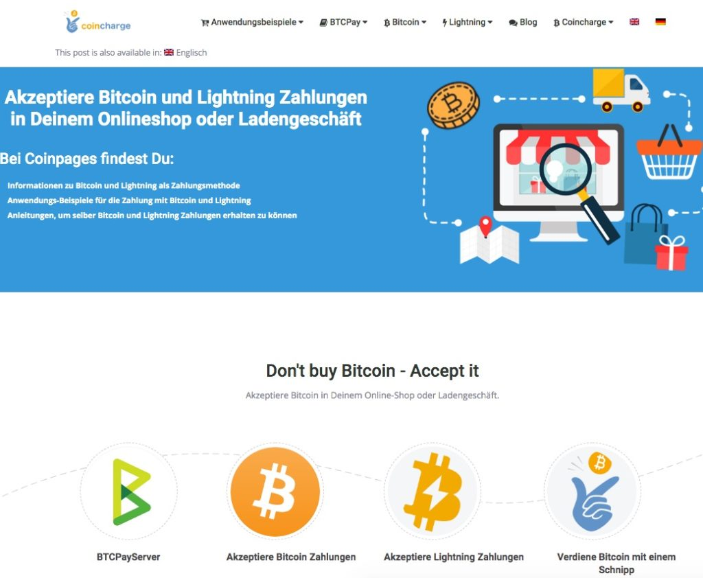 Coincharge Akzeptiere Bitcoin und Lightning